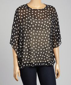 Boom Boom Black Sheer Polka Dot Cape-Sleeve Top - Plus by Boom Boom #zulily #zulilyfinds