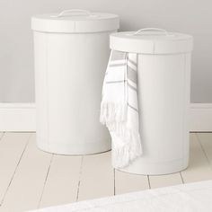Leather Laundry Bins - Bathroom Accessories | The White Company
