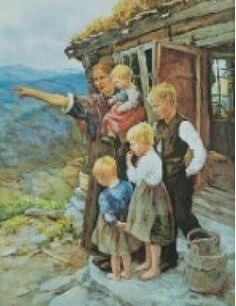"""Kunstnerkort Marie Hauge """"Se, der kommer far"""""""
