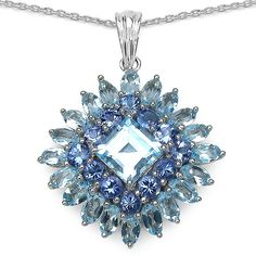 12.28 CT TW Blue Topaz and Tanzanite Pendant in Sterling Silver