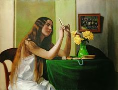 Carole's Chatter: Félix Vallotton - artist Lausanne, Gauguin, Dressing Table, Night Gown, Photo Puzzle, Giclee Print, Canvas Prints, Fine Art, Long Hair Styles