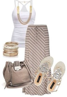 White sleeveless blouse, necklace, hand bag and sandals