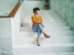 ankle boots and sweater