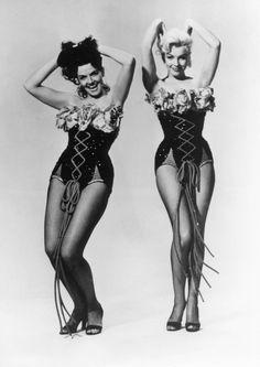 """exclamationmark: """" silvercinema: Jane Russell and Marilyn Monroe in Gentlemen Prefer Blondes (Howard Hawks, 1953) This Gentleman now prefers blondes ~ Yeeha Peaches """""""