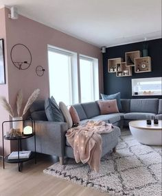 70 grey small living room apartment designs to look amazing 3 - Home Design Ideas Living Room Decor Cozy, Home Living Room, Mauve Living Room, Grey Living Room With Color, Front Room Decor, Sitting Room Decor, Small Apartment Living, Living Room Color Schemes, Living Room Colors