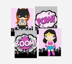 Four framed superhero wall prints for a girl's nursery or bedroom | kidslovethisstuff.com