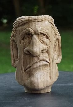Relief Carving OOAK Mans Bust Carving Carving by Cartoons2Carvings, $25.00