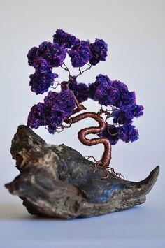 Purple  Wire Bonsai Tree/ Miniature / Wire Tree / Driftwood Art / Tree Sculpture / Home Decor / Metal Art / Wire Art / Japanese Art / Sakura