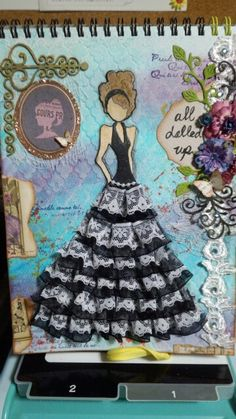 my first mix media journal with Prima Julie Nutting doll stamp , Lorena
