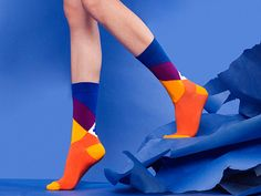 Toscana Blue Orange Socks, Socks for Men in Purple Orange Blue Colors, Colorful Women's Socks with Cross Purple Blue Pattern Silly Socks, Happy Socks, Cool Socks, Women's Socks, Sock Display, Orange Socks, Bleu Violet, Blue Orange, Purple