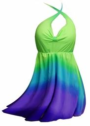 New! Green & Purple Glow Plus Size & Supersize Halter Top or Shoulder Strap 2pc Swimdress 2x 5x