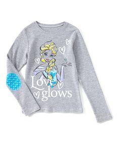 Look at this #zulilyfind! Frozen Heather Gray Elsa 'Love Glows' Tee - Girls #zulilyfinds
