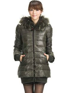 Hunter Green Long Sleeves Polyester Woman's Overcoat