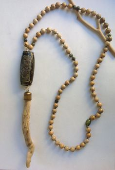 Jade, agate, driftwood necklace