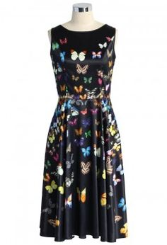 Rainbow of Butterfly Printed Midi Dress in Black - Dress - Retro, Indie and Unique Fashion