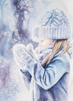 Items similar to Matted x Winter Scenery Little Girl Original Watercolor Painting Handmade Art Wall Decor on Etsy Christmas Paintings, Christmas Art, Watercolor Cards, Watercolor Paintings, Watercolour, Bff Drawings, Winter Painting, Winter Scenery, Handmade Art