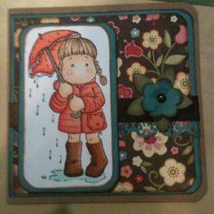 Handmade card Magnolia ink Stamp & my minds eye paper