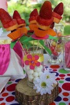 """Fruit kabob Photo 3 of Upsy Daisy - In The Night Garden / Birthday """"Upsy Daisy In The Park"""" Boys First Birthday Cake, 3rd Birthday Parties, Birthday Ideas, Butterfly Garden Party, Daisy Party, Garden Birthday, Grilling Gifts, Night Garden, Party Supplies"""