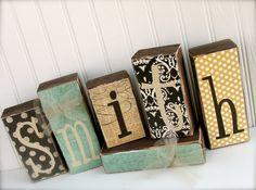 name blocks, I feel like I could make these. So cute!