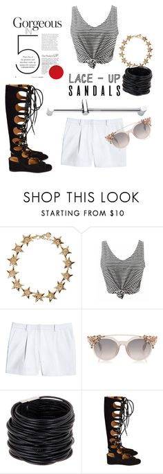 """Untitled #204"" by mafcha ❤ liked on Polyvore featuring Versace, Canvas by Lands' End, Saachi, Chloé, contestentry, laceupsandals and PVStyleInsiderContest"