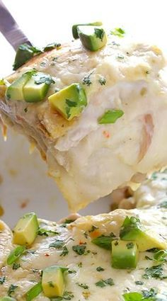 White Chicken Enchilada Casserole.....add celery & cumin, spices...use cream cheese