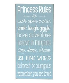 Another great find on #zulily! 'Princess Rules' Wall Sign by Vinyl Crafts #zulilyfinds