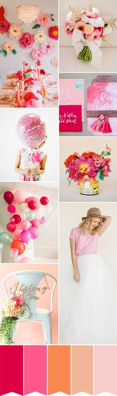 A Fun and Fabulous Wedding Color Palette of Pink and Orange | www.onefabday.com