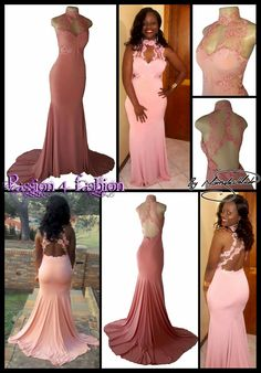 Peach soft mermaid matric farewell dress with a choker neckline and lace detail on the bodice and back.  #mariselaveludo #fashion #matricdance #matricdress #passion4fashion #lace #peachsoftmermaiddress #promdress