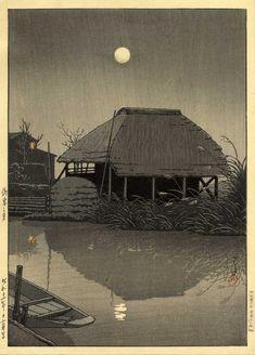 川瀬巴水 Hasui Kawase『潮来の月』(1936)