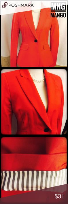 NWOT MNG Mango Fire Red Lined Sassy Blazer Beautiful and sassy MNG blazer in a fire cherry red color. Beautiful lining detail on sleeves adds to the zest of this piece. The fit is beautiful and extremely flattering. NWOT and ready to wear. Enjoy! MNG Mango Jackets & Coats