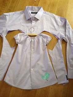 A dress shirt DIYs into an adorable baby dress.