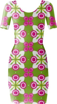 Green and Pink Geometric Bodycon Dress