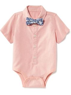 Oxford Button-Front Bodysuit with Bow-Tie for Baby Product Image