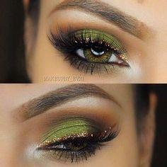 Green & Gold Glitter Eyeliner Eye Makeup