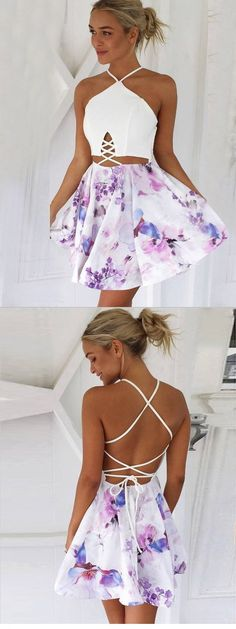 Sexy A-Line V-Neck Lace-up Short Floral Short Homecoming Dresses Source by dresses short Unique Homecoming Dresses, Hoco Dresses, Dance Dresses, Sexy Dresses, Casual Dresses, Summer Dresses, Wedding Dresses, Cute Short Dresses, Fashion Dresses