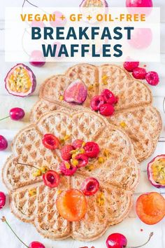Vegan Breakfast Waffles made with only 4 ingredients and very easy to prepare. Healthy, vegan, gluten-free and oil-free. Healthy Waffles, Healthy Vegan Breakfast, Healthy Vegan Snacks, Vegetarian Recipes Easy, Raw Food Recipes, Dessert Recipes, Healthy Recipes, Dessert Food, Healthy Breakfasts