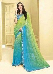Casual Wear  Georgette Sky Blue Printed Saree