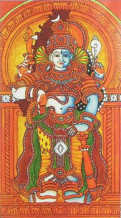 Harihara - Combined Deity Form of Both Vishnu (Hari) and Shiva (Hara) - Reprints of Temple Murals (Reprint on Paper - Unframed) Kalamkari Painting, Tanjore Painting, Pichwai Paintings, Indian Paintings, Kerala Mural Painting, Hippie Painting, Ganesha Painting, Shiva, Krishna