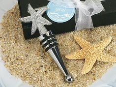 Chrome Starfish Wine Stopper Favors (Cassiani Collection 1427)   Buy at Wedding Favors Unlimited (http://www.weddingfavorsunlimited.com/chrome_starfish_wine_stopper_favors.html).