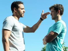 graceland tv show images | Daniel Sunjata (left) makes a point to Aaron Tveit, both playing ...