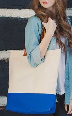 Canvas Tote / Color Block Tote Bag / Leather