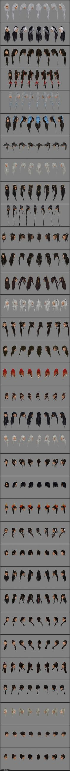个人整理-剑网3发型8视图-97P尺寸3000960-游戏模型区- Character Design Tips, Character Art, Zbrush Hair, Character Modeling, 3d Modeling, 3d Face, Hair Reference, Process Art, How To Draw Hair