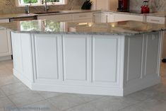 Black painted #kitchen #island with a #beadboard back panel ...