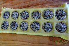 Triple mushroom ravioli with cheese filling in the ravioli pockets @allourway.com