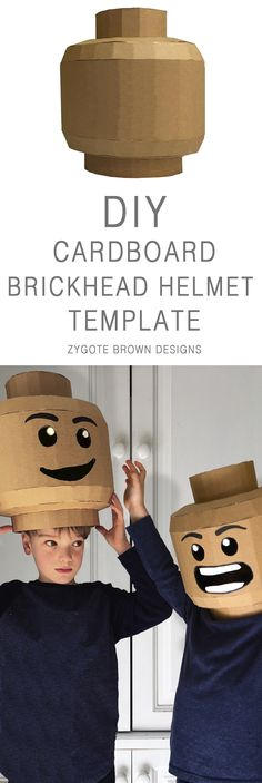 DIY Cardboard Brickhead Helmet template, dress up for halloween in these legoman and brickman inspired helmets by Zygote Brown Designs