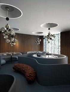 atomic multi light sculptural Contemporary Descendant of Retro Sphere Lighting:  Atomic Suspension Lamp