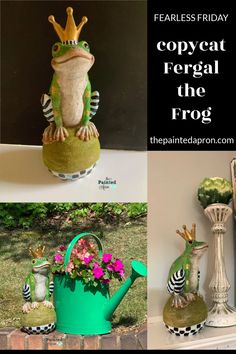 Fearless Friday, Copycat Fergal the Frog | The Painted Apron Fearless Friday, Mackenzie Childs Inspired, Snapchat Selfies, Painting Tutorials, Pattern Mixing, Copycat, Apron, Planter Pots, Crafts