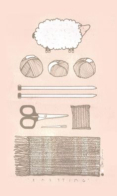 SUBMISSION: knitting essentials. print by Kati Lacker.