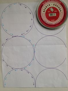Here's a little diagram on how I quilted the circles. I first drew them with a washable marker, tracing around the top of a cookie cutter container (it was handy, and approximately the size I was going for!). Then I quilted using my walking foot. I did my quilting in columns, starting at the top and making a figure 8 type pattern to quilt one side of the circle, then following across to quilt the other side of the circle below, as shown in this diagram. To get nice round circles, you want to…