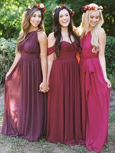 Brooklyn Dress, Merlot Chiffon| Kennedy Convertible Dress, Marsala Chiffon| Eliza Dress,Winterberry Chiffon by Revelry.